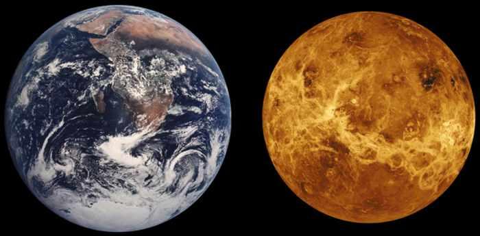 Сравнение по величине планет Венера и Земля