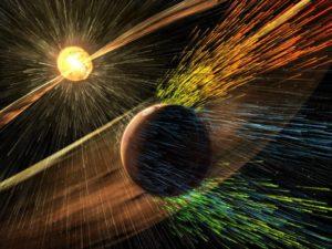 Художественное изображение влияния солнечного ветра на Марс