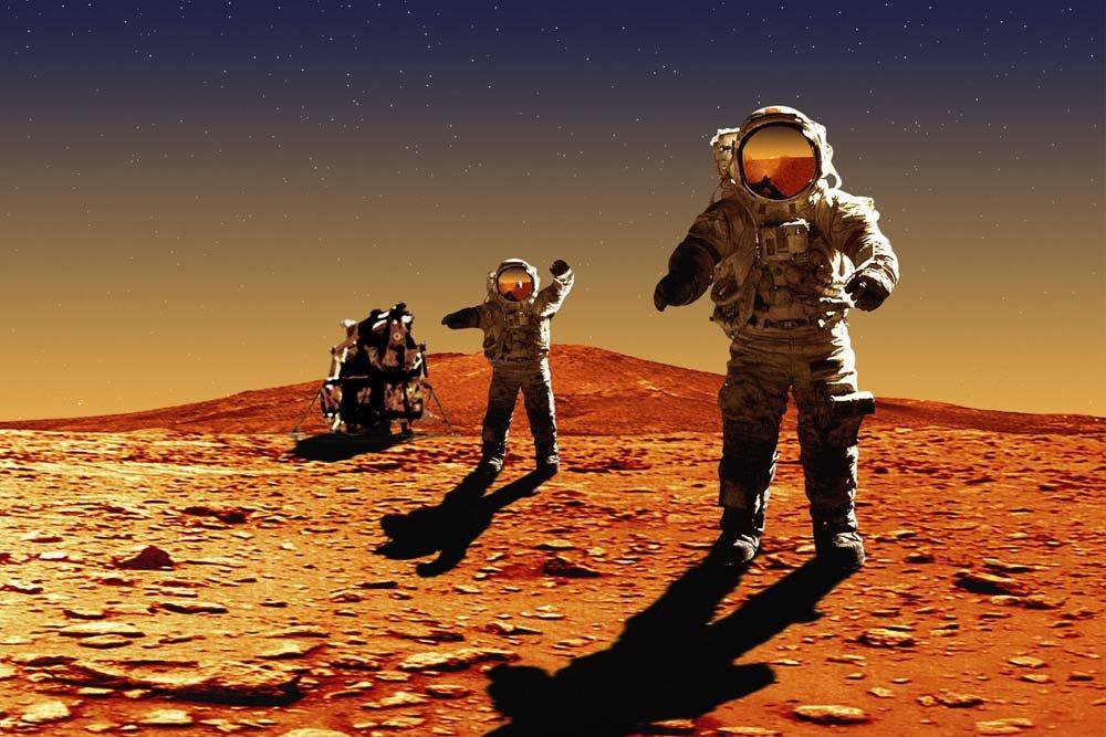 Космонавт на Марсе в представлении художника