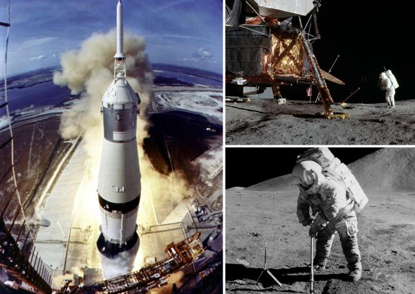 Фото со знаменитой миссии высадки человека на Луну Апполон-11