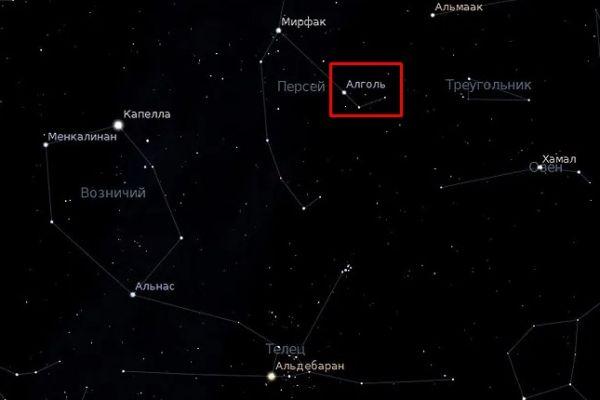 Расположение звезды Алголь