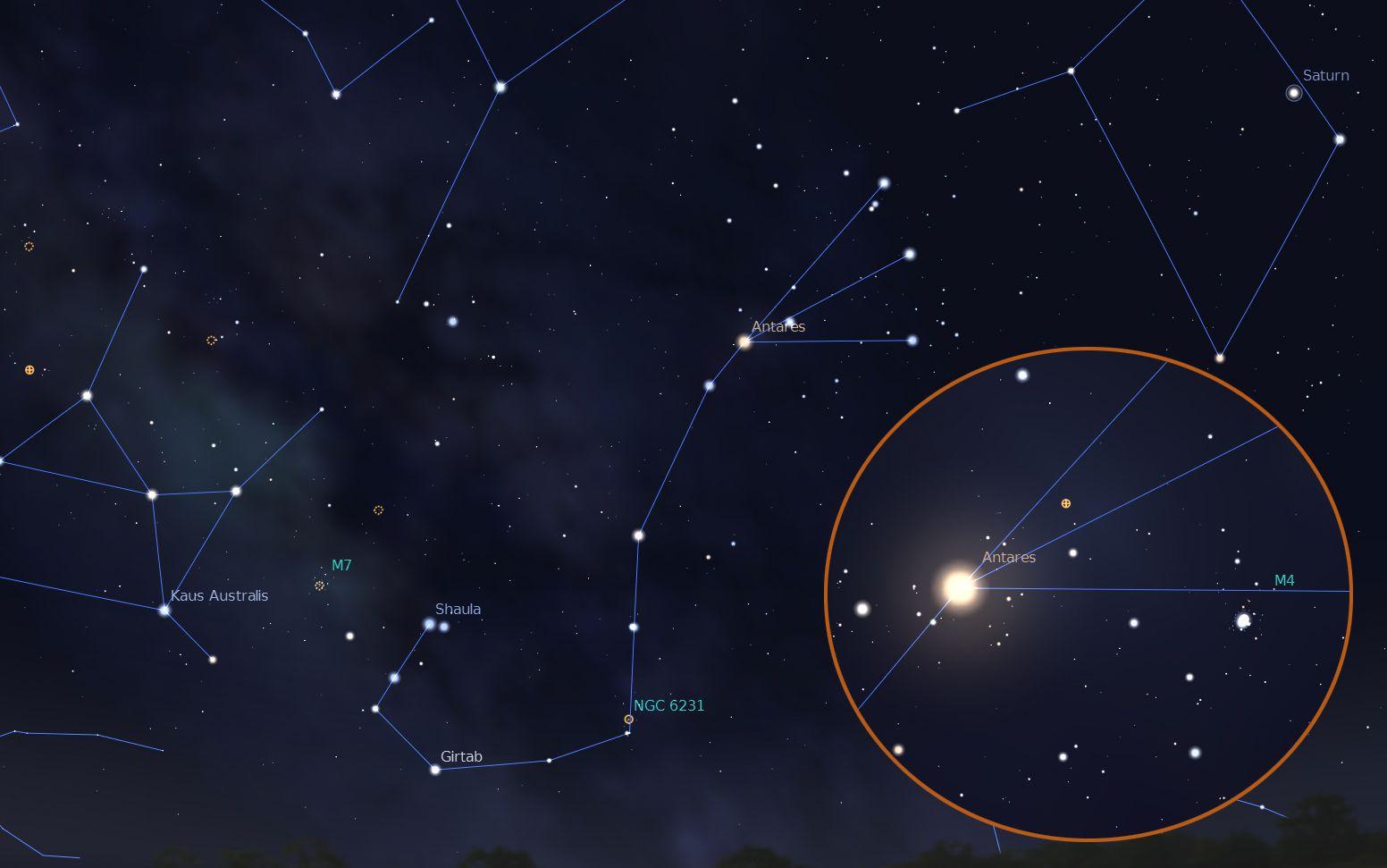 Расположение Антареса на небе